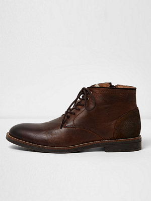 River Island Dark Brown leather chukka boots