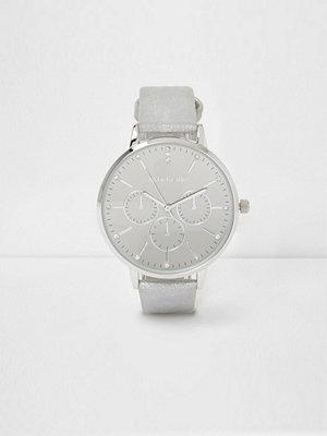 Klockor - River Island Light grey diamante watch