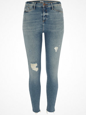 Jeans - River Island Light blue Molly distressed skinny jeggings