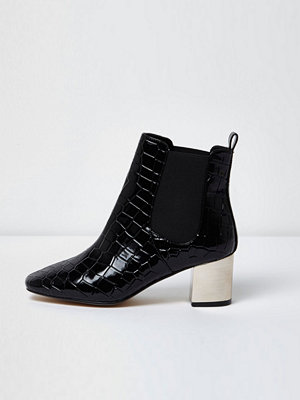 Boots & kängor - River Island Black croc wide fit metallic heel boots