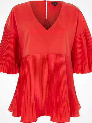 Blusar - River Island Red pleated V neck puff sleeve top