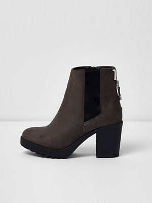 Boots & kängor - River Island Grey chunky block heel ankle boots