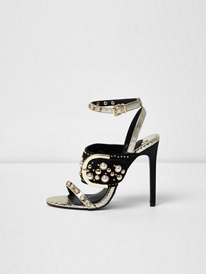 River Island Gold studded buckle barely there sandals