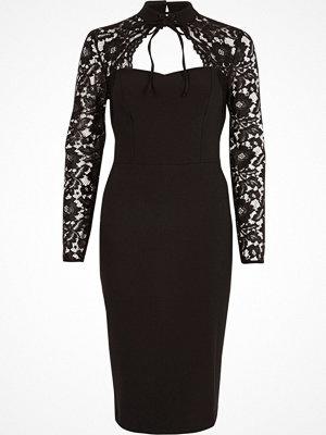 River Island Black lace sleeve choker neck bodycon dress