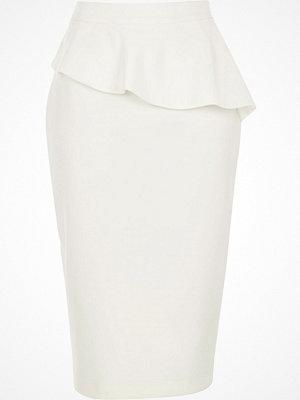 Kjolar - River Island White peplum frill pencil skirt
