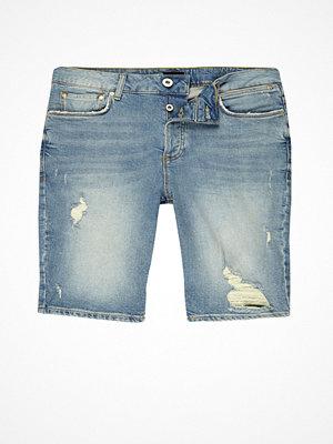 Shorts & kortbyxor - River Island Light blue distressed skinny fit denim shorts