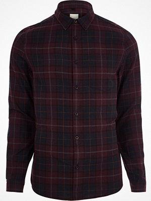 Skjortor - River Island Burgundy check long sleeve shirt