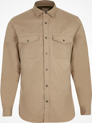 Skjortor - River Island Stone long sleeve muscle fit military shirt