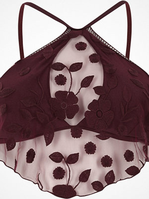 Bikini - River Island Burdundy floral mesh high neck bikini top