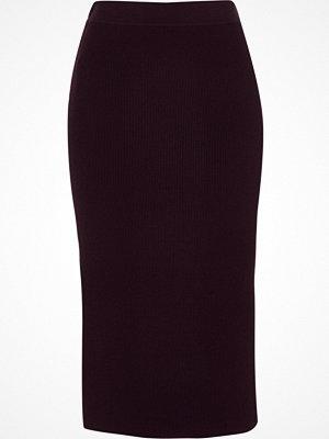 Kjolar - River Island Purple ribbed pencil skirt