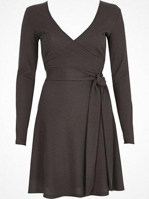 River Island Dark grey rib ballet wrap long sleeve dress