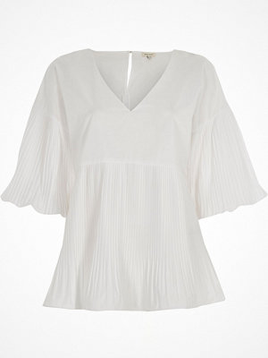 Blusar - River Island White pleated V neck puff sleeve top