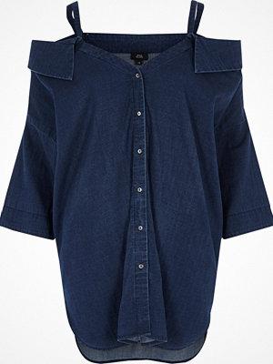 Toppar - River Island Blue denim cold shoulder shirt