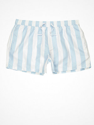 Badkläder - River Island Light blue stripe swim shorts