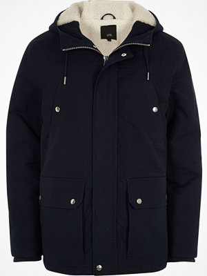 River Island Navy borg lined hooded jacket