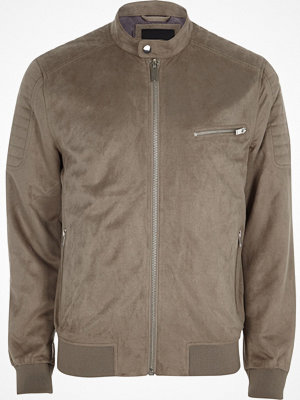 River Island Grey faux suede racer jacket
