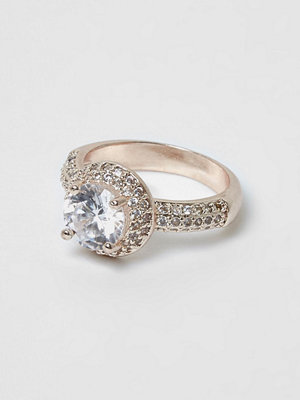 River Island Rose gold diamante encrusted jewel ring