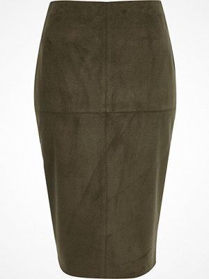 Kjolar - River Island Khaki green faux suede pencil skirt