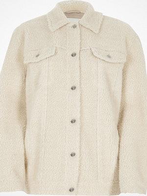 River Island Cream borg trucker jacket