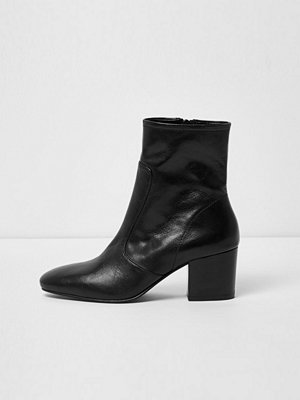 River Island Black leather sock block heel ankle boots