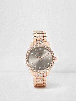 Klockor - River Island Gold tone diamante encrusted watch