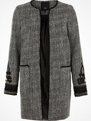 Kappor - River Island Black tweed embroidered cuff coat