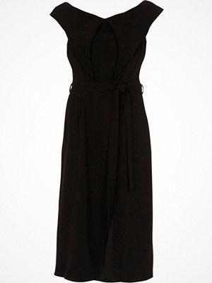 River Island Black tie waist belt wrap midi dress
