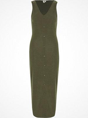 River Island Khaki sleevless ribbed button-up maxi dress