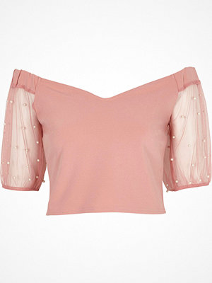 Toppar - River Island Pink bardot mesh puff sleeve crop top