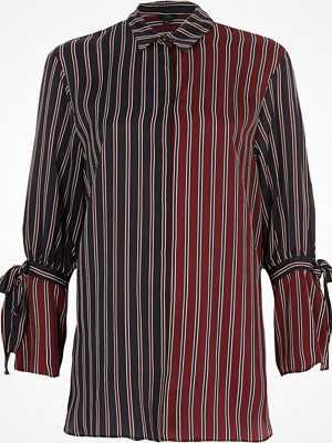 River Island River Island Womens Navy and red split stripe tie cuff shirt