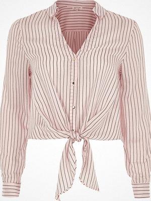 Skjortor - River Island Pink stripe tie front shirt