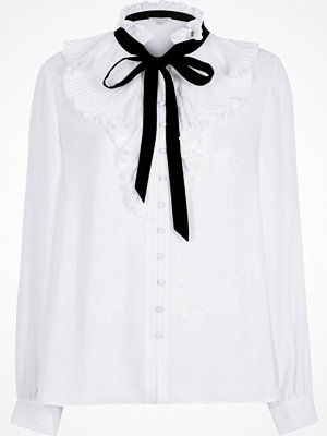 Blusar - River Island White frill neck pussybow blouse