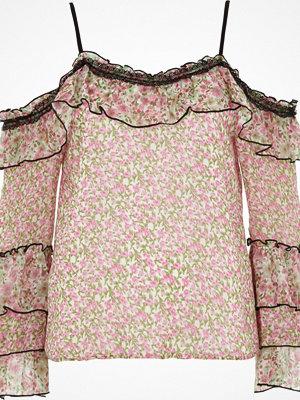Toppar - River Island Petite pink floral frill cold shoulder top