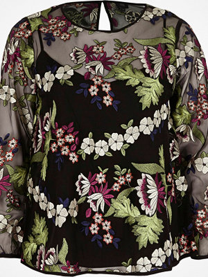 Blusar - River Island Black floral embroidered mesh long sleeve top