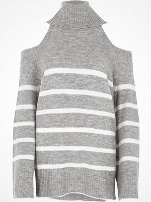 River Island River Island Womens Grey stripe cold shoulder roll neck jumper