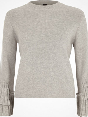 River Island River Island Womens Grey high neck pleated sleeve knitted top