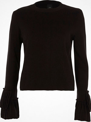 Tröjor - River Island Black high neck pleated sleeve knitted top