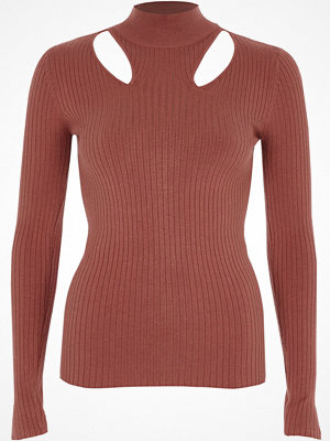 Tröjor - River Island Pink rib knit cut out high neck top
