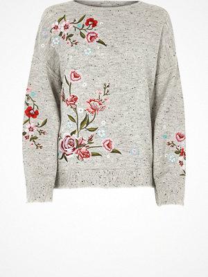 Tröjor - River Island Grey floral embroidered jumper