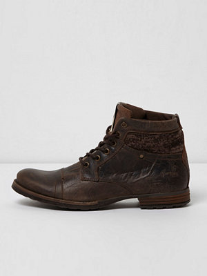 River Island River Island Mens Brown mixed texture leather boots