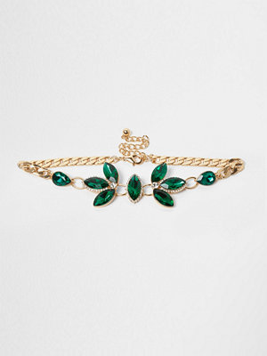 Chokers - River Island River Island Womens Emerald Green gem embellished choker