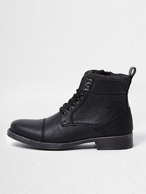 Boots & kängor - River Island River Island Mens Black lace-up toe cap boots