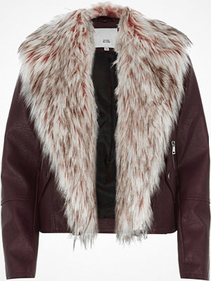 River Island Burgundy faux fur trim biker jacket