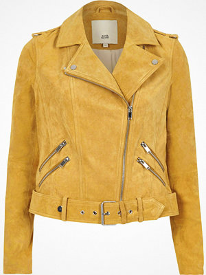 River Island River Island Womens Light Yellow belted suede biker jacket