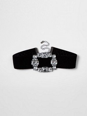 Chokers - River Island River Island Womens Black velvet diamante brooch choker