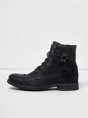Boots & kängor - River Island River Island Mens Dark Grey leather military boots