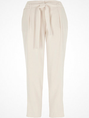 River Island vita byxor River Island Womens Cream tie waist tapered trousers