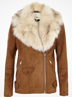 River Island River Island Womens Tan faux fur trim aviator jacket