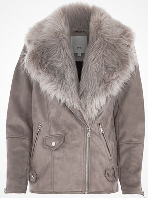 River Island River Island Womens Grey faux fur trim aviator jacket