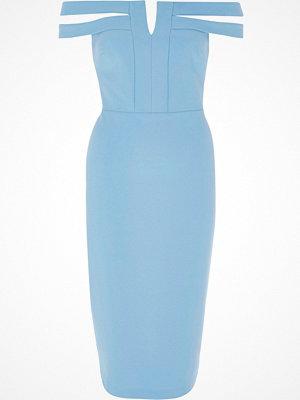 River Island River Island Womens Blue split bardot neck bodycon midi dress
